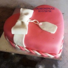 Pink Heart Fondant Cake