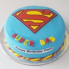 Superman Logo Fondant Cake