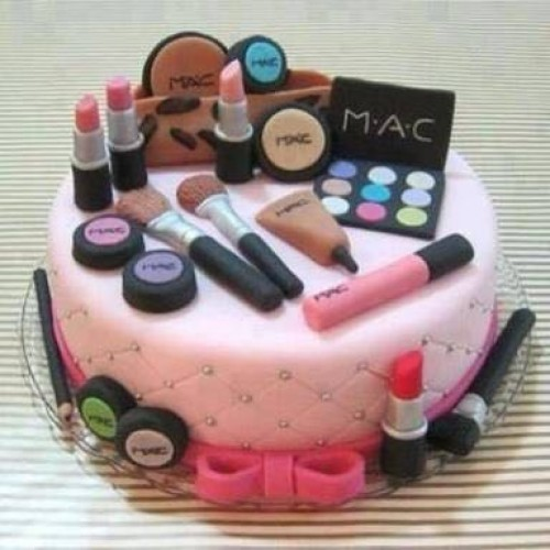 Outstanding Mac Makeup Kit Fondant Cake Personalised Birthday Cards Sponlily Jamesorg