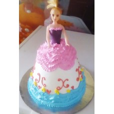 Pink & Blue Barbie Doll Cake