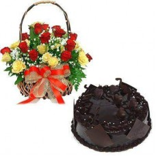 Chocolate Cake & Mix Roses Basket